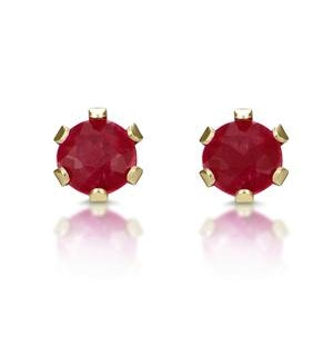 Ruby 3 x 3mm 9K Yellow Gold Stud Earrings