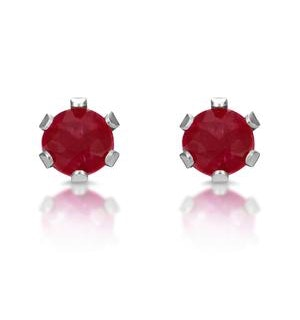 Ruby 3 x 3mm 9K White Gold Stud Earrings
