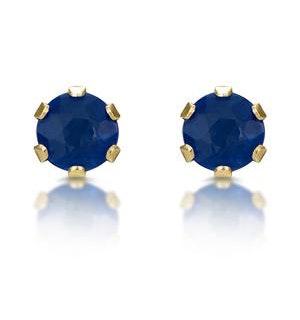 Sapphire 3mm 9K Yellow Gold Stud Earrings
