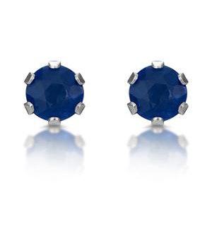 Sapphire 3mm 9K White Gold Stud Earrings