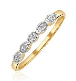 Half Eternity Ring 0.02CT Diamond 9K Yellow Gold