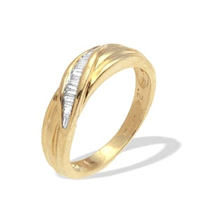 9K Gold Diamond Channel Set Baguette Ring (0.25ct)
