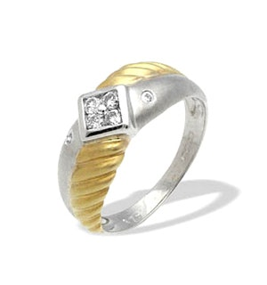 9K Two Tone Diamond Design Ring