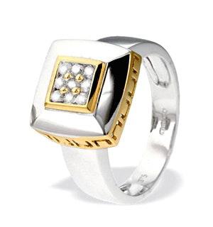 9K White Gold Square Diamond Ring