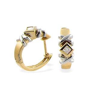 9K Gold Diamond Huggie Earrings