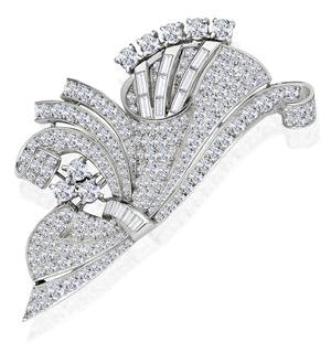Vintage Platinum 5ct Diamond Brooch