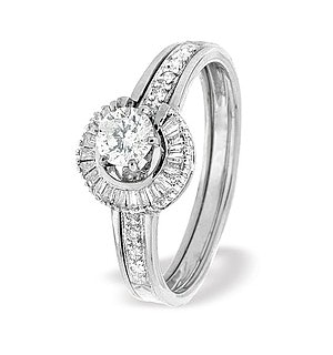 Diamond 0.65ct And 9K White Gold Solitaire Ring with Shoulders