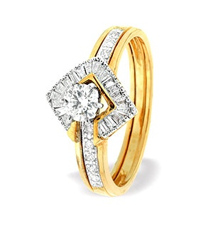 Diamond 0.65ct And 9K Gold Solitaire Ring with Shoulders