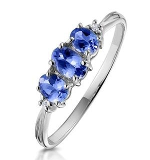 Tanzanite 0.59CT And Diamond 9K White Gold Ring