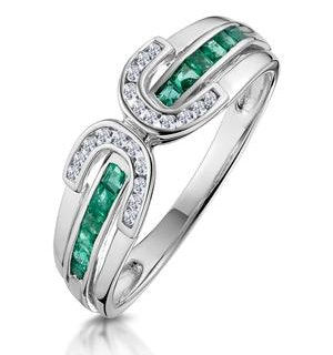 Emerald And 0.12CT Diamond Ring 9K White Gold