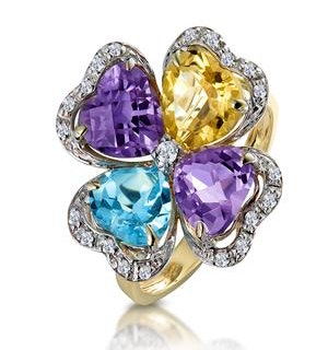 Amethyst Topaz and Citrine Flower Ring with Diamonds in 9K Gold