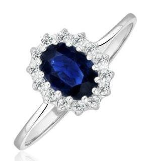 Sapphire 0.95ct And Diamond 9K White Gold Ring