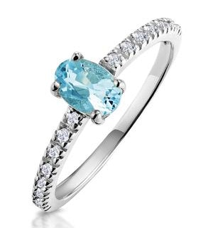 0.35ct Aquamarine 0.08ct Diamond and 9K Gold Ring -  E5775