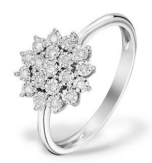 Diamond 0.10ct 9K White Gold Cluster Ring - E5887