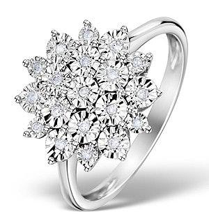 Diamond 0.10ct 9K White Gold Large Cluster Ring - E5888