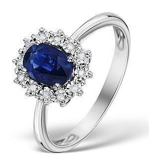 Sapphire Ring With Diamond Halo 7 x 5mm Set in 9K White Gold