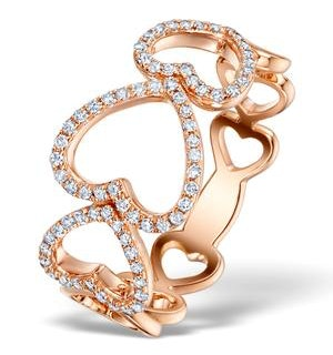 Vivara Collection 0.28ct Diamond and 9K Rose Gold Heart Ring - Size K