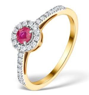 Ruby Halo Martini 0.25CT Diamond Ring in 9K Gold E5961