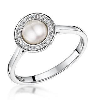 Pearl and Diamond Stellato Ring 0.08ct in 9K White Gold