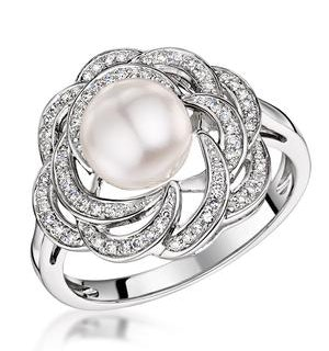 Pearl and Diamond Stellato Ring 0.20ct in 9K White Gold