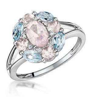 Rose Quartz Blue Topaz and Diamond Stellato Ring in 9K White Gold