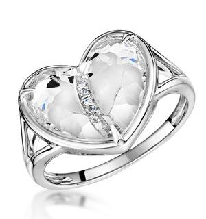 White Topaz and Diamond Stellato Ring 0.02ct in 9K White Gold