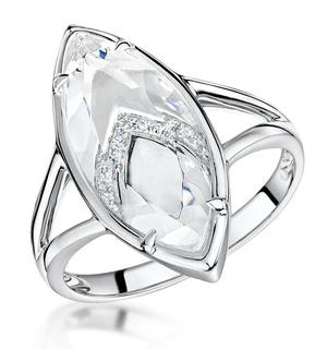 Stellato Collection White Topaz and Diamond Ring in 9K White Gold