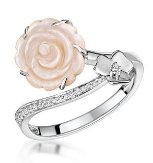 Stellato Collection Shell and Diamond Ring 0.05ct in 9K White Gold