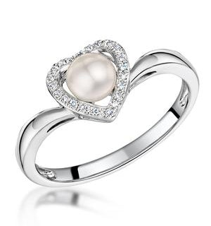 Stellato Collection Pearl and Diamond Heart Ring in 9K White Gold