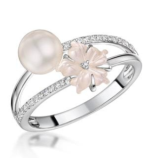 Pearl with Shell and Diamond Stellato Ring 0.08ct in 9K White Gold