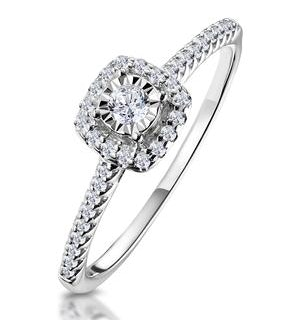 Masami Diamond Halo Engagement Ring 0.25ct Pave Set in 9K White Gold