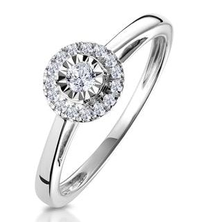 Masami Diamond Engagement Ring 0.20ct Pave Set Halo in 9K White Gold