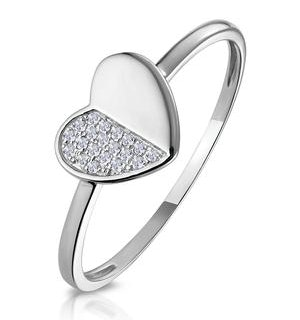 Stellato Diamond Pave Heart Ring in 9K White Gold