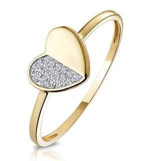 Stellato Collection Diamond Pave Heart Ring in 9K Gold