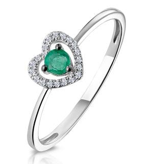 Emerald and Diamond Stellato Heart Ring in 9K White Gold