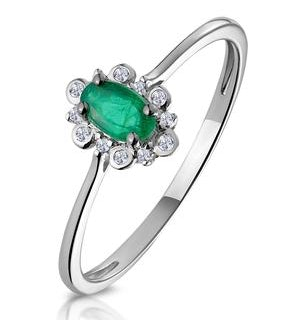 Emerald and Diamond Stellato Cluster Ring in 9K White Gold