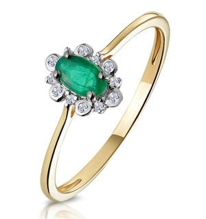 Emerald and Diamond Stellato Cluster Ring in 9K Gold