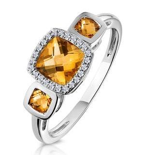Halo 1.26ct Citrine and Diamond Stellato Ring in 9K White Gold