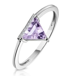 Triangle Amethyst and Diamond Stellato Ring in 9K White Gold