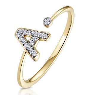 Diamond Initial 'A' Ring 0.07ct set in 9K Gold