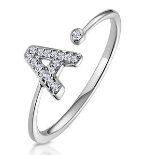 Diamond Initial 'A' Ring 0.07ct set in 9K White Gold