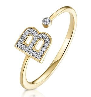 Diamond Initial 'B' Ring 0.07ct set in 9K Gold