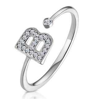 Diamond Initial 'B' Ring 0.07ct set in 9K White Gold