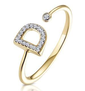 Diamond Initial 'D' Ring 0.07ct set in 9K Gold