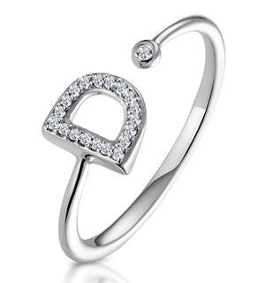 Lab Diamond Initial 'D' Ring 0.07ct Set in 925 Silver