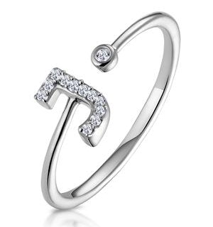 Diamond Initial 'J' Ring 0.07ct set in 9K White Gold