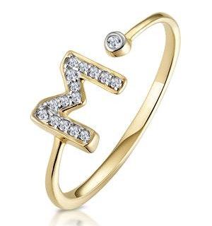 Diamond Initial 'M' Ring 0.07ct set in 9K Gold