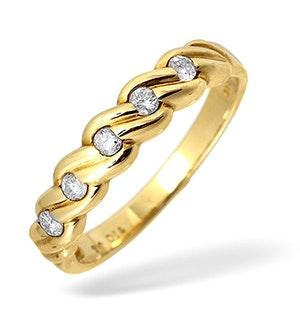 9K Gold Diamond Twist Design Ring 0.25CT