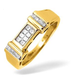 9K Gold Princess Cut Diamond Design Ring 0.26CT