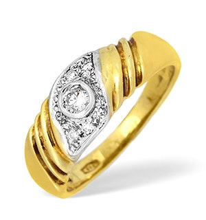 18K Gold Diamond Rubover and Pave Detail Ring 0.25ct
